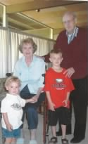 Left to right: TJ, great-grandma Blanche, Tracen and great-grandpa Glen.