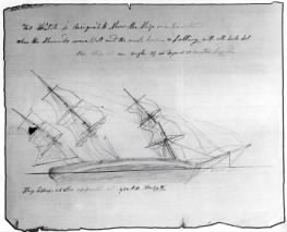 Cabin boy Thomas Nickerson's illustration of the Essex on its side after be
