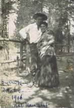 My future grandmother and grandfather Julian Steunenberg and Francis Beardsley Wood. Big Creek Idaho 1906.  http://www.ruralnetwork.net/~yptimes/page14.html