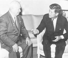 A meeting between John F. Kennedy, President of the United States, and Nikita Khrushchev, Premier of the Soviet Union.