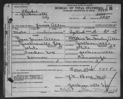 Page 1 in Texas Birth Certificates - Fold3