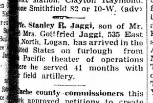 A newspaper entry in The Herald Journal from Logan, Utah on May 18, 1945, page 5