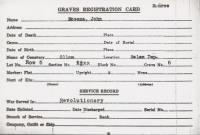 Grave's Registration Card Ollum Cemetery Monroe County, OH