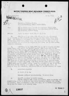 Rep of action off Piso Point, Davao Gulf, Mindanao Island, Philippines, 5/19/45 > Page 1