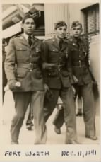 L-R:  Cpl. ?, Cpl. Mac Acosta and Sgt. Robert Evins in Fort Worth while in town for the Armistice Day Parade - November 1941.