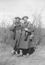 L-R:  Robert Evins and ? - Camp Bowie - late 1940.
