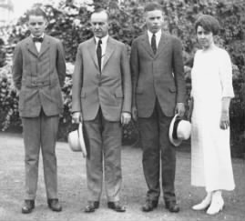 U.S. President Calvin Coolidge, second from left; with wife Grace and sons John, left; and Calvin, Jr..jpg