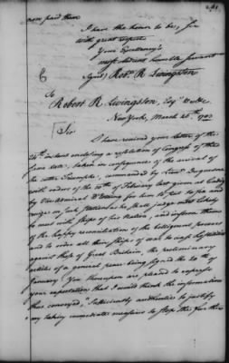 Foreign Ltrs of Robert R Livingston > Page 261