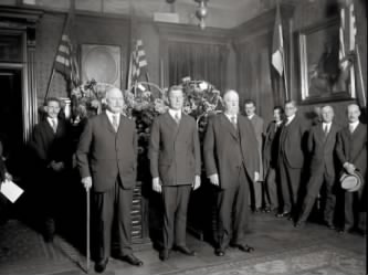 Swearing_in_of_Secretary_Dwight_Davis, former SOW'S Weeks and Taft are standing beside him.jpg