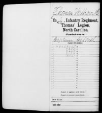 William Holland Thomas was a Cherokee Indian who commanded a band of Cherokees for the Confederate Army during the Civil War. This is his service record.