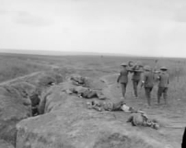 Dead and wounded beside a communication trench at the Battle of Amien 9 August 1918