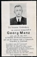 Georg Manz funeral card (Died February 20, 1945 from straffing attack in WW II).jpg