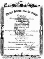 Lee, Lincoln Durand - USMC Certificate of Honorable & Satisfory Service in WW II - Pg 1.jpg