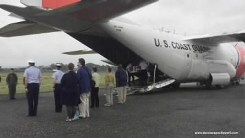 Remains of Pfc. Ross leave the former Henderson Field on Guadalcanal in a US Coast Guard C-130, August 8, 2017