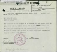 War Department telegram announcing Pfc. Ross is missing in action. Image courtesy of the US National Archives