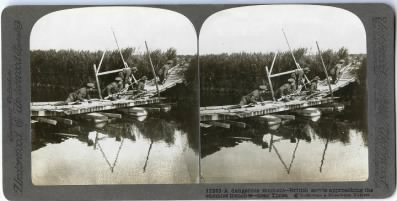 Stereoview card from underwood & Underwood depicting British forces near Ypres