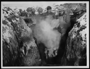 Soldiers make hot stew in the trenches WWI