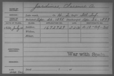 Company H > Jardines, Clarence A.