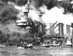 USS West Virginia after being bombed in Pearl Harbor.