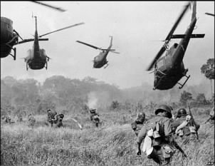 The Vietnam War was the first war to use helicopters prominently in battle.