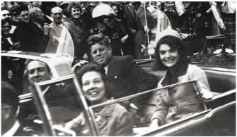 JFK riding in motorcade in Dallas, Texas
