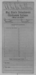 War of 1812 Service Records - Chickasaw Indians