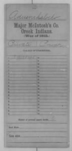 War of 1812 Service Records - Creek Indians