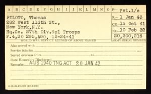 New York Army National Guard Service Cards (Selected)