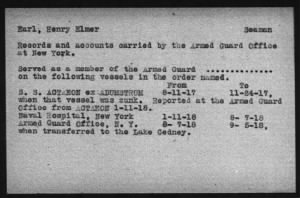 Rendezvous Reports Index - WWI Armed Guard Personnel
