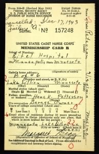 WWII Cadet Nursing Corps Card Files