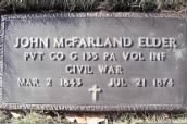 John McFarland ELDER, Civil War, Co G 135th PA Vol. Inf