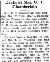 Frances Louise (Fannie) Williamson Chamberlain