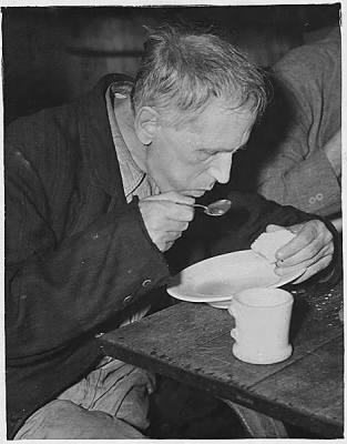 Unemployed Men Eating in Volunteers of America Soup Kitchen, Washington, D.C.