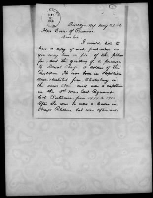 Revolutionary War Pension for Daniel Shays of Shays Rebellion