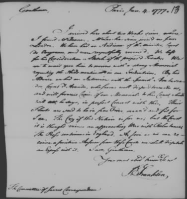Letter written by Benjamin Franklin