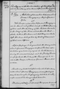 Terms of Surrender between Gates and Burgoyne at Saratoga