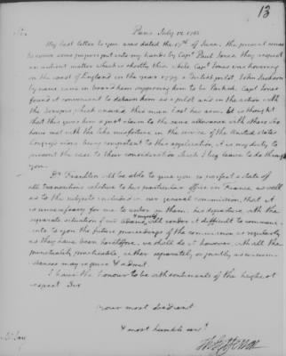 Letter written by Thomas Jefferson