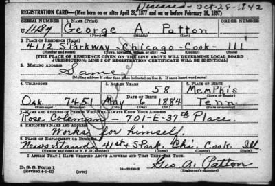 Draft Card for a George Patton