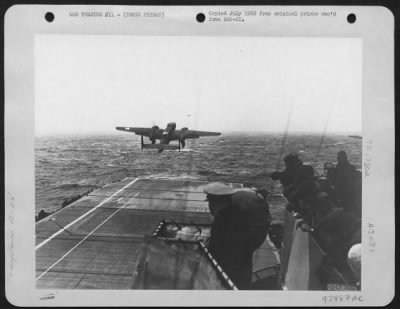 Plane takes off the USS Hornet for Doolittle's raid on Japan