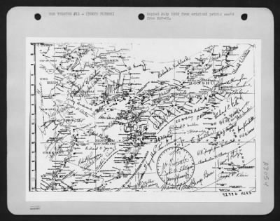 Toyko Raiders autographed map wwii picture