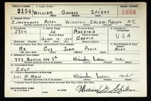 Example WWII Draft Registration Card