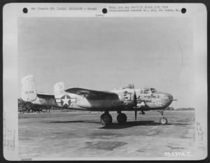 Fold3 Image - The last North American B-25 to come off the assembly line at the plant in Inglewood, California; employees covered the plane with their names