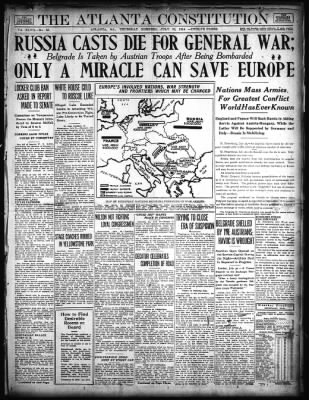 July 30, 1914 - Atlanta Constitution Reports the Beginning of World War 1