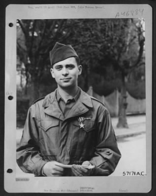 Sgt. William K. Ackroyd receives the Silver and Bronze Star wwii picture