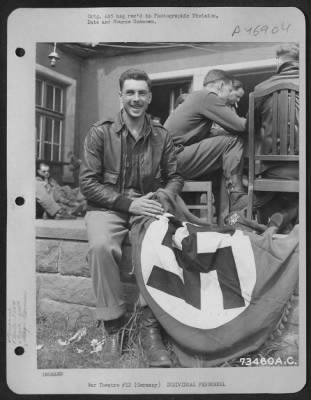 US solidier with Nazi Flag wwii picture