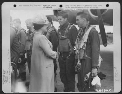 Queen Elizabeth meets with US Airmen of the 379th Bomb Group, 6 July 1944