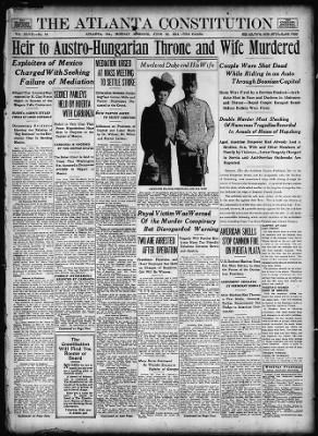 The Atlanta Constitution Marks the Death of Archduke Franz Ferdinand