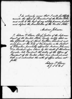 Andrew Johnson's Oath of Office with Salmon Chase's Certification