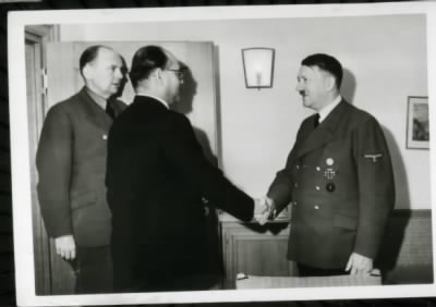 Indian nationalist leader Chandra Bose meets with Adolf Hitler