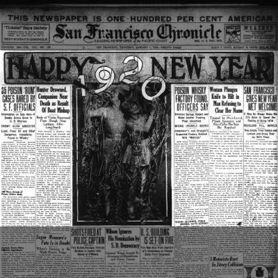 Happy New Year 1920 from the San Francisco Chronicle